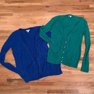 Old Navy Blue and Green Cardigans